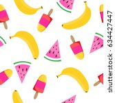 seamless pattern with fruits... | Shutterstock .eps vector #634427447