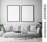 mock up poster frame in hipster ... | Shutterstock . vector #634434833