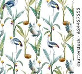 watercolor pattern with birds.... | Shutterstock . vector #634437353