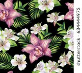 seamless pattern with tropical... | Shutterstock . vector #634444973
