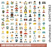 100 social opinion icons set in ... | Shutterstock .eps vector #634473863