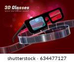 3d glasses  cinema movie... | Shutterstock .eps vector #634477127