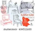 hand drawn furniture. graphic... | Shutterstock .eps vector #634511633