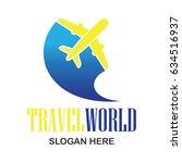 air plane logo  travel world... | Shutterstock .eps vector #634516937