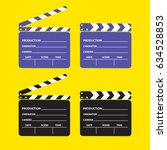 set of movie clapperboard.... | Shutterstock .eps vector #634528853