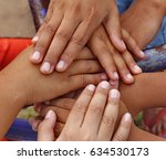children's hands reconciled | Shutterstock . vector #634530173