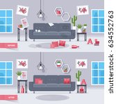 living room before and after... | Shutterstock .eps vector #634552763