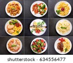 set of various plates of food... | Shutterstock . vector #634556477