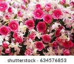 pink rose and white orchid for... | Shutterstock . vector #634576853