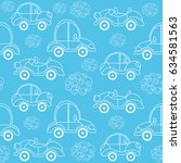 seamless kids pattern with cars.... | Shutterstock .eps vector #634581563