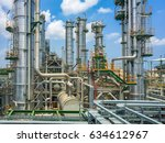 refinery tower in process area... | Shutterstock . vector #634612967