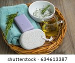 skincare spa still life with... | Shutterstock . vector #634613387
