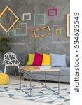 grey living room with modern... | Shutterstock . vector #634625543