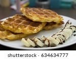 crispy fresh waffle  with... | Shutterstock . vector #634634777