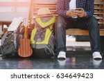 young man traveler with... | Shutterstock . vector #634649423