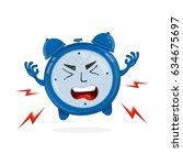 evil angry alarm clock. vector... | Shutterstock .eps vector #634675697