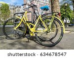 yellow bike parked in the... | Shutterstock . vector #634678547