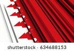 fragment flag of bahrain. 3d... | Shutterstock . vector #634688153
