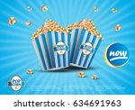 3d popcorn isolated on blue... | Shutterstock .eps vector #634691963