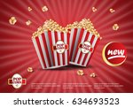 3d popcorn isolated on red... | Shutterstock .eps vector #634693523