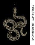 vintage line snake. vector... | Shutterstock .eps vector #634694567