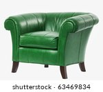 expensive green leather arm chair with clipping path - stock photo