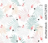 summer seamless pattern with... | Shutterstock .eps vector #634712933