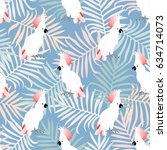 seamless tropical pattern with... | Shutterstock .eps vector #634714073