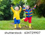 little boy and girl play in... | Shutterstock . vector #634729907
