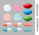 set of colorful pills. color... | Shutterstock .eps vector #634731803