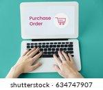 hands working on laptop network ...   Shutterstock . vector #634747907