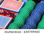 pokers chips  dice  and playing ...   Shutterstock . vector #634749443