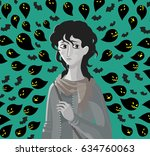 sad girl stressed anxiety bad...   Shutterstock .eps vector #634760063