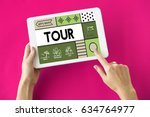 holiday trip tour itinerary... | Shutterstock . vector #634764977