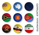 set of world flags round badges ... | Shutterstock .eps vector #634766693