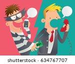 cartoon illustration of a phone ... | Shutterstock .eps vector #634767707