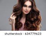 closeup beauty portrait of... | Shutterstock . vector #634779623
