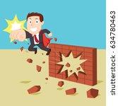 super businessman breaking... | Shutterstock .eps vector #634780463