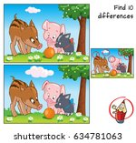 three little pigs and orange.... | Shutterstock .eps vector #634781063