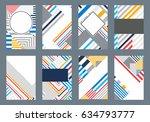 set of 8 trendy geometric... | Shutterstock .eps vector #634793777