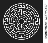 circle maze. labyrinth with...   Shutterstock .eps vector #634798517