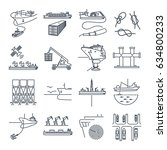 Set Of Thin Line Icons Water...