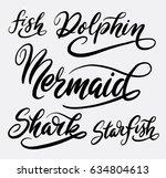 mermaid and shark fish hand...