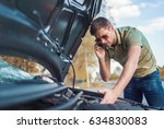 driver on the road having... | Shutterstock . vector #634830083