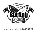 summer surfing retro badge.... | Shutterstock .eps vector #634853297