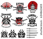 karate school labels. samurai... | Shutterstock .eps vector #634862603
