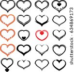 heart icon sketch style  raster ... | Shutterstock . vector #634869173