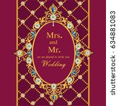 vintage invitation and wedding... | Shutterstock .eps vector #634881083