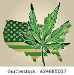 Usa Map As Green Flag With...