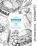 burgers and ingredients for... | Shutterstock .eps vector #634886957